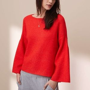 Lou & Grey Bright Red Bell Sleeve Sweater